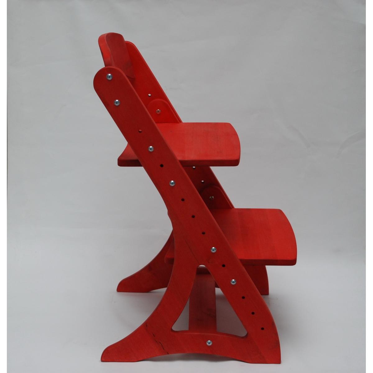 Растущий стул АйКью из массива березы (цвет руби)