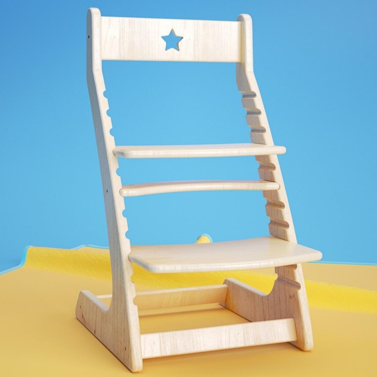 Детский растущий регулируемый стул Ростик/Rostik (лак)