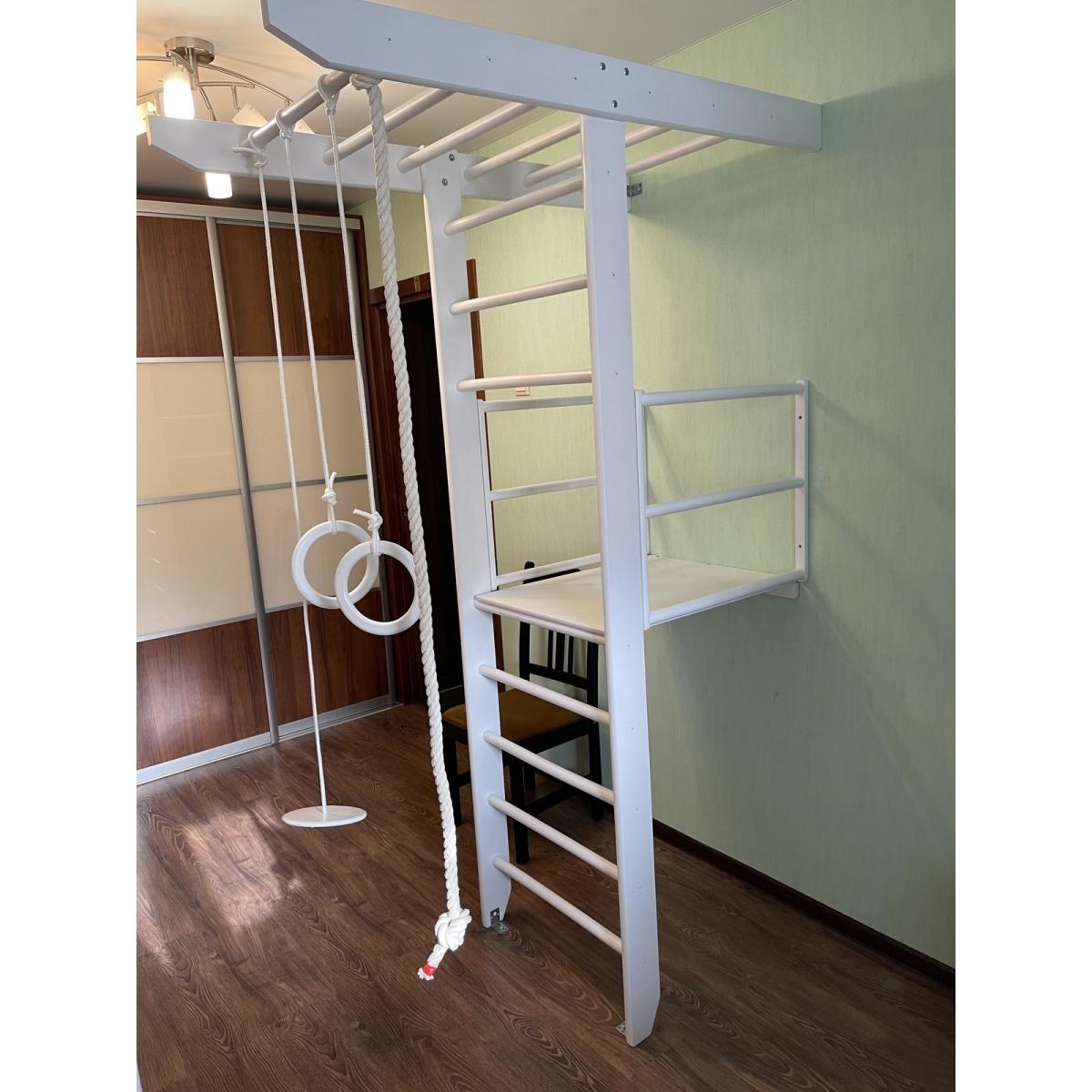 Детский спортивный комплекс Крепыш Т-образный с балконом (белый, базовая комплектация)
