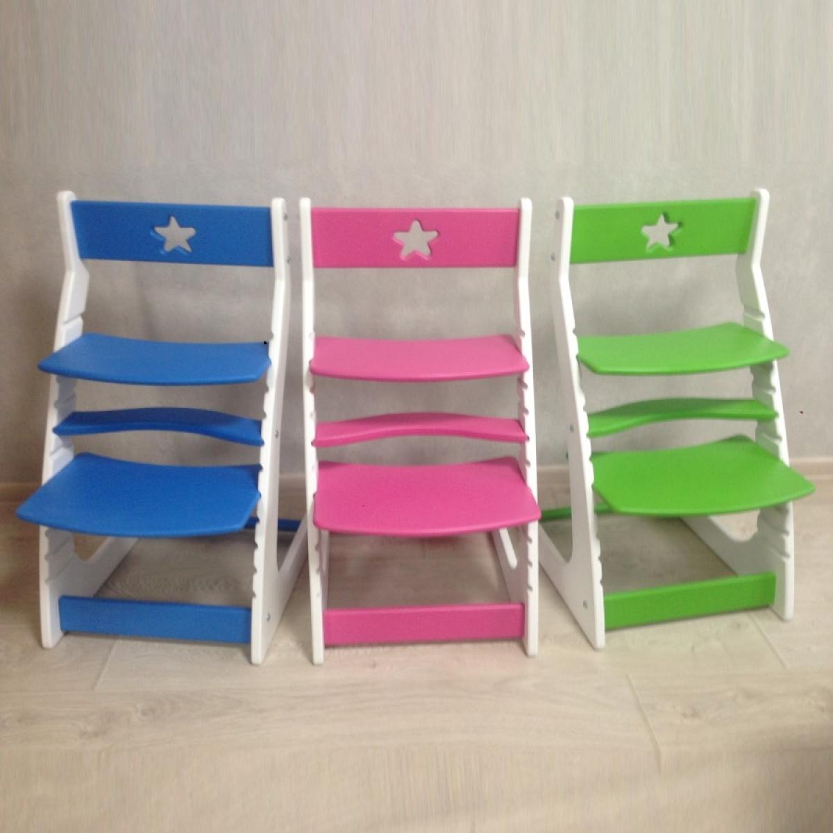 Детский растущий регулируемый стул Ростик/Rostik (розово-белый)
