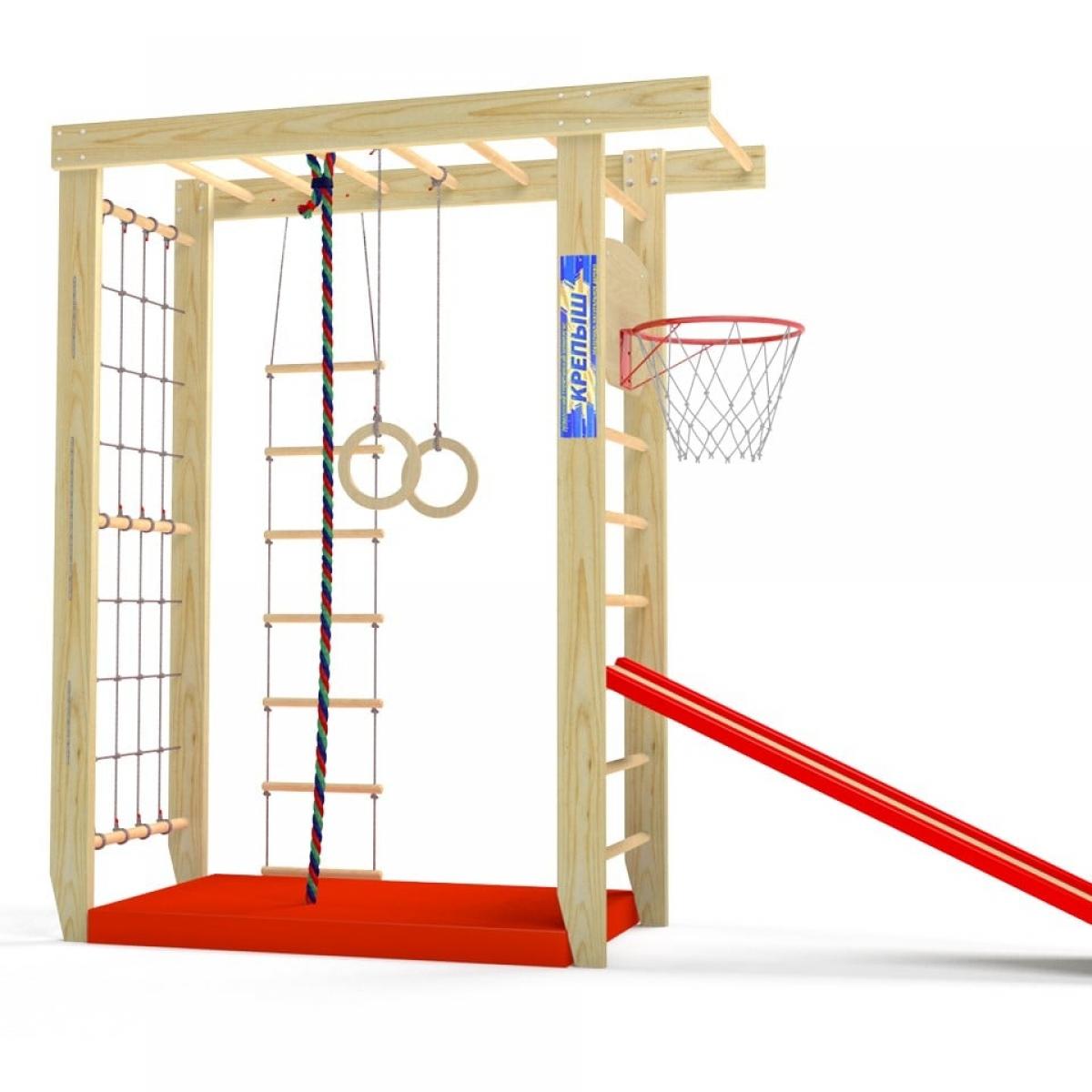 Спортивный комплекс Крепыш П-образный с верхним турником (шведская и гладиаторская стенки)