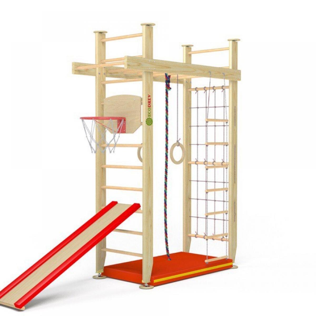Детский игровой комплекс Крепыш П-образный с верхним турником враспор (лак, полная комплектация)