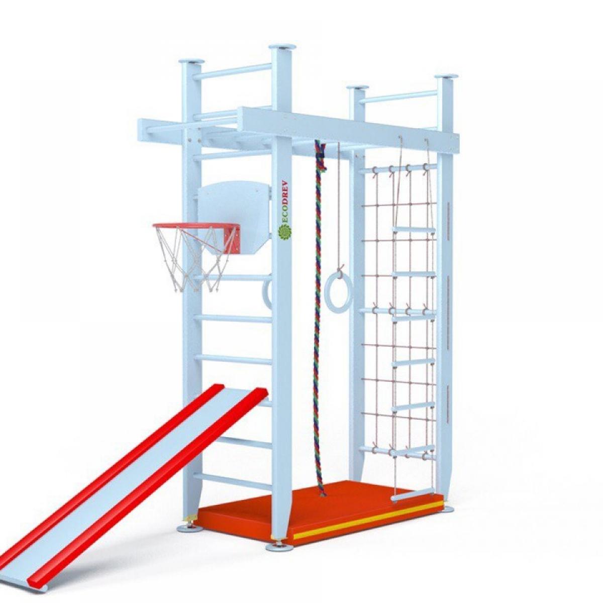 Детский спортивный комплекс Крепыш П-образный с верхним турником враспор (лак, полная комплектация)