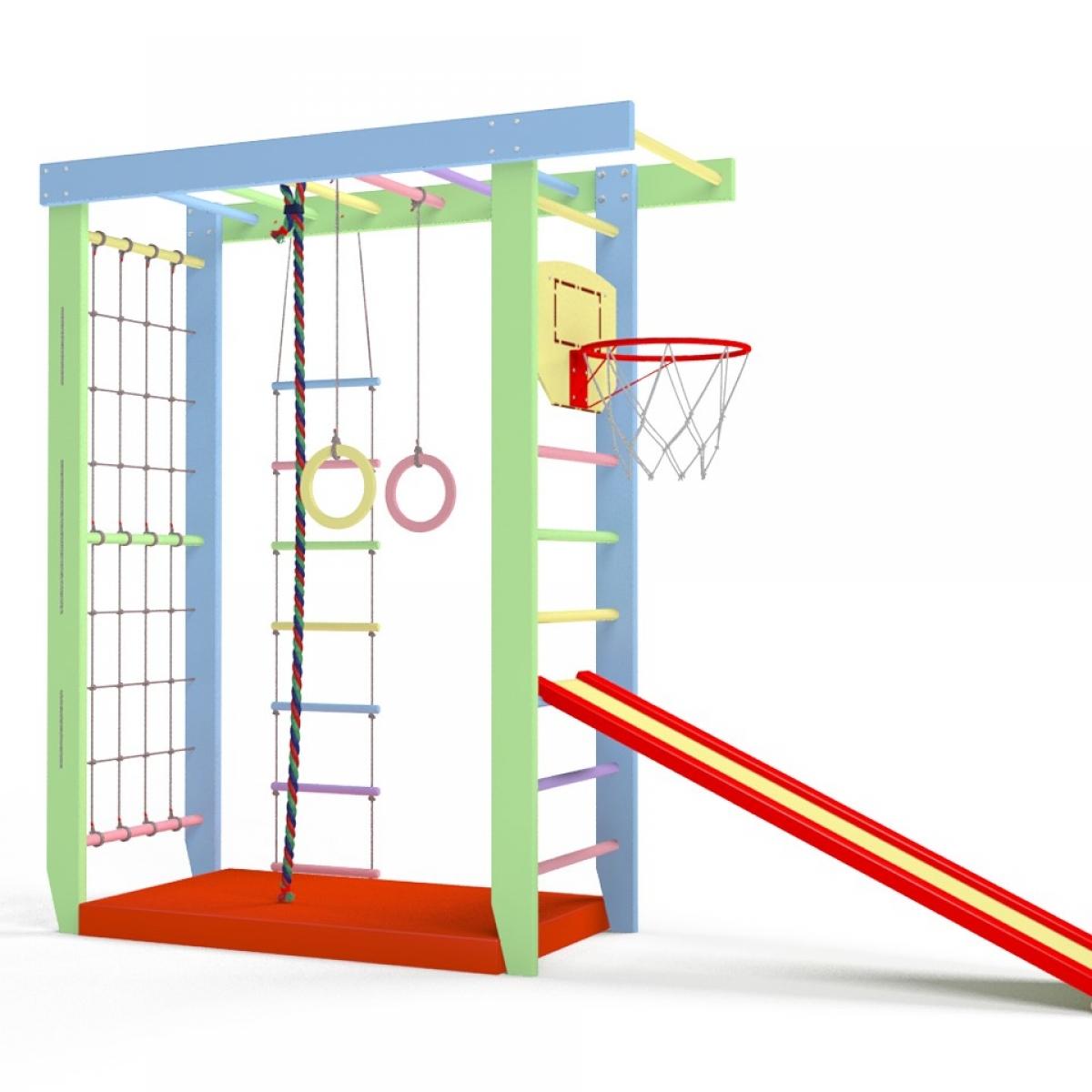 Игровой комплекс Крепыш П-образный с верхним турником (шведская-гладиаторская стенка)
