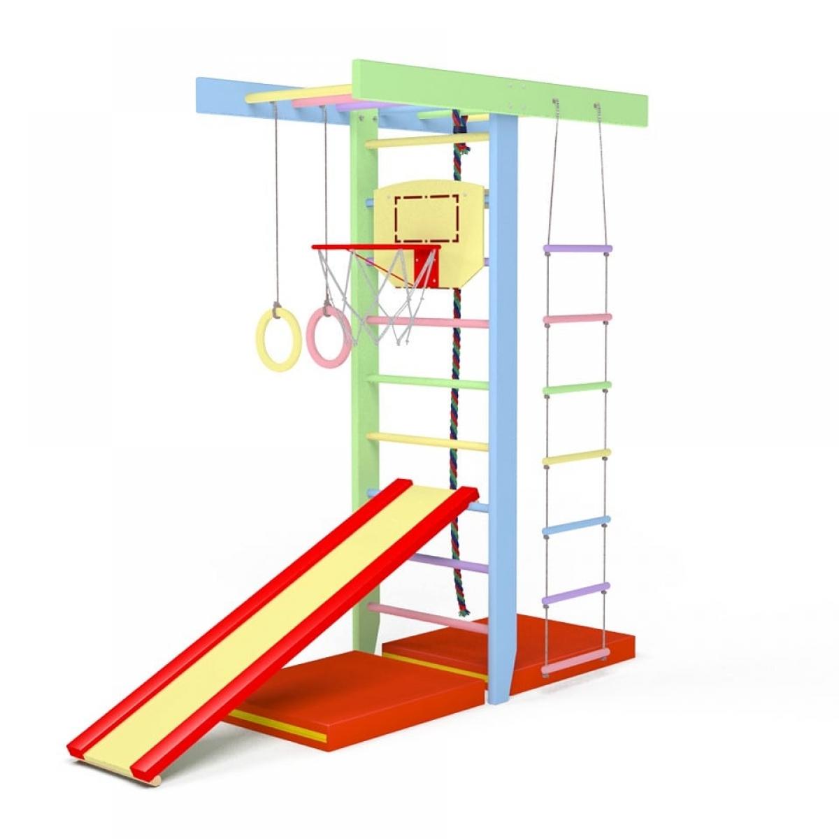 Детский спортивный комплекс Крепыш Т-образный (Весенняя радуга)