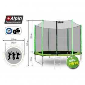 Батут Alpin 3.12 м. с защитной сеткой и лестницей (зеленый)