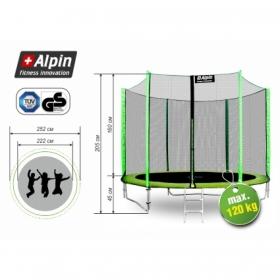 Батут Alpin 2.52 м с защитной сеткой и лестницей (зеленый)