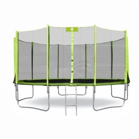 Батут Smile STG-435 (зеленый) с защитной сеткой и лестницей (435см.)