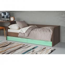 Кровать подростковая Лотос КР-804, цвет рэд фокс + зеленый