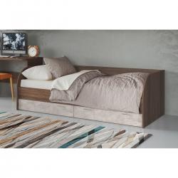 Кровать подростковая Лотос КР-804, цвет рэд фокс + бетон бежевый