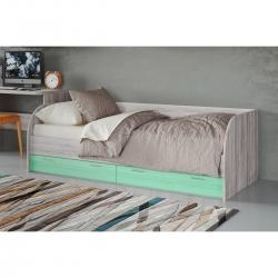 Кровать подростковая Лотос КР-804, цвет дуб серый + зеленый
