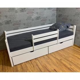 Детская (подростковая) кровать Rostik с бортиком и ящиками (белая)