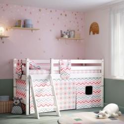 Детская (подростковая) низкая кровать (кровать-чердак) Соня с наклонной лестницей (белая)
