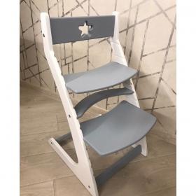 Детский растущий регулируемый стул Ростик/Rostik (бело-серый)