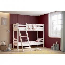 Двухъярусная детская (подростковая) кровать Соня с наклонной лестницей (белая)
