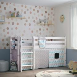 Детская (подростковая) низкая кровать (кровать-чердак) Соня с прямой лестницей (белая)