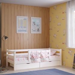 Детская (подростковая) кровать Соня с задней защитой и бортиком без ящиков (белая)