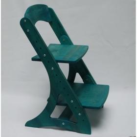 Растущий стул АйКью из массива березы (цвет зелёный павлин)