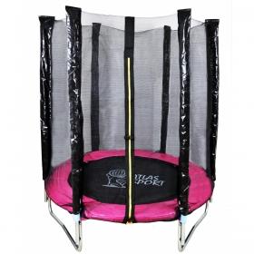 Батут Atlas Sport Pink 140 см - 4.5ft с внешней сеткой (на эластичных ремнях)