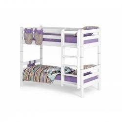 Двухъярусная детская (подростковая) кровать Соня с прямой лестницей (белая)