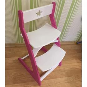 Детский растущий регулируемый стул Ростик/Rostik (бело-розовый)