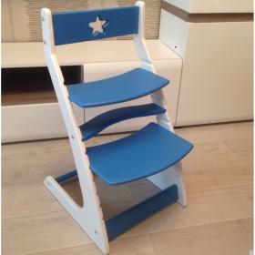Детский растущий регулируемый стул Ростик/Rostik (сине-белый)