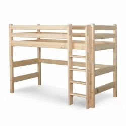 Детская (подростковая) полувысокая кровать (кровать-чердак) Соня с прямой лестницей (прозрачный лак) вариант 5