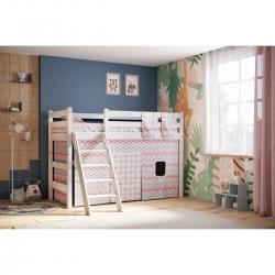 Детская (подростковая) полувысокая кровать (кровать-чердак) Соня с наклонной лестницей (белая)