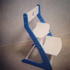 Детский растущий регулируемый стул Ростик/Rostik (бело-синий)